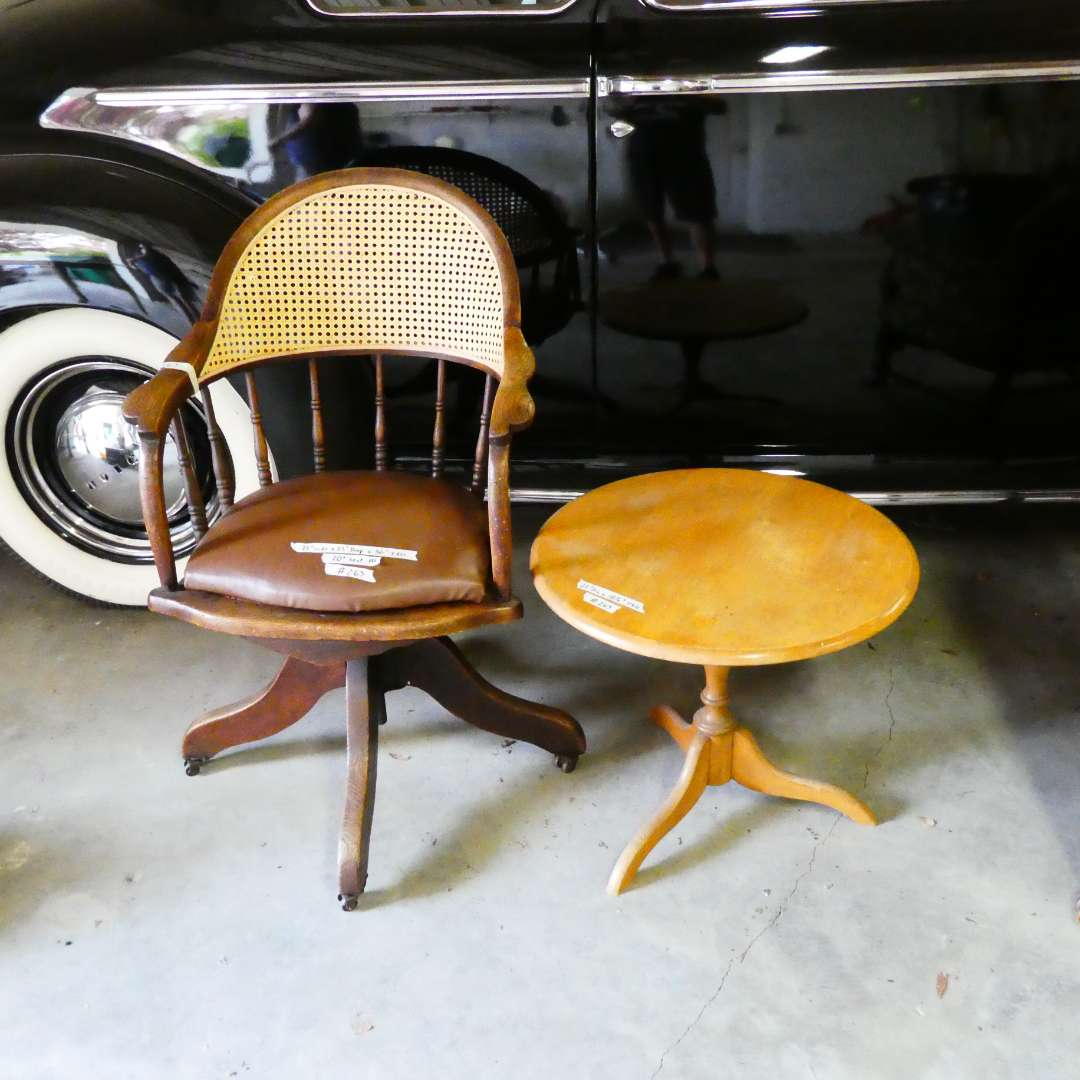 Lot # 263 - Vintage Swivel Office Chair w/ Cane Backing and Small Round Side Table  (main image)