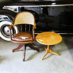 Lot # 263 - Vintage Swivel Office Chair w/ Cane Backing and Small Round Side Table