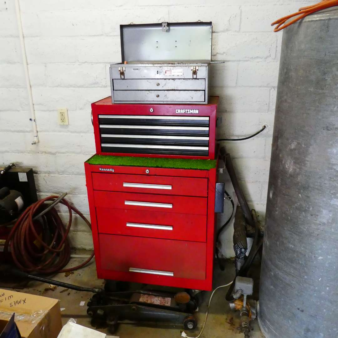 Lot # 264 - Kennedy Rolling Tool Box and Two Craftsman Tool Boxes Stacked on Top w/ an Assortment of Tools  (main image)