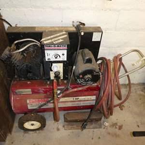 Lot # 265 - Sanborn Air Compressor (Runs, Has Small Leak)