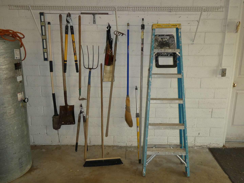 Lot # 267 - 6FT Werner Ladder & Misc Yard Tools  (main image)