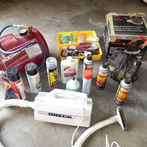Lot # 268 - Oreck Vacuum, Portable Air Tank, Car Waxer & Misc Car Chemicals