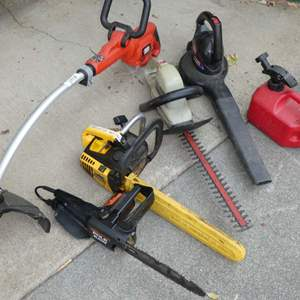 Lot # 269 - Chainsaw (Gas), Weed Eater (Gas), Hedge Trimmer, Pole Saw and Blower (Electric)