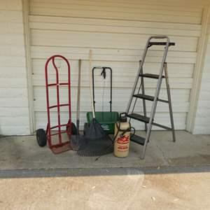 Lot # 273 - Folding Step Ladder, Hand Truck, Scotts Spreader, Sprayer, Rake & Shovel