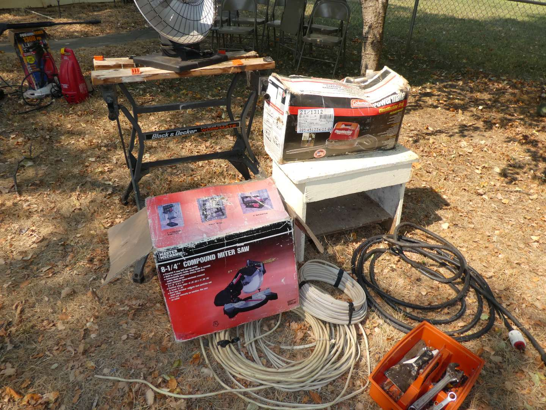 Lot # 275 - Folding Black & Decker Workmate, Compound Miter Saw, Coleman Clean Machine Pressure Washer, Heater & More (main image)
