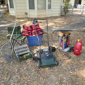 Lot # 276 - Electric Mower, Power Washer, Fishing Supplies (Tackle, Pole & Net) & Folding Chair