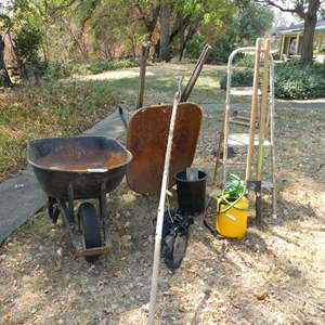 Lot # 277 - Wheelbarrows, Pole Saw, Post Hole Diggers, Step Ladder and Trowels