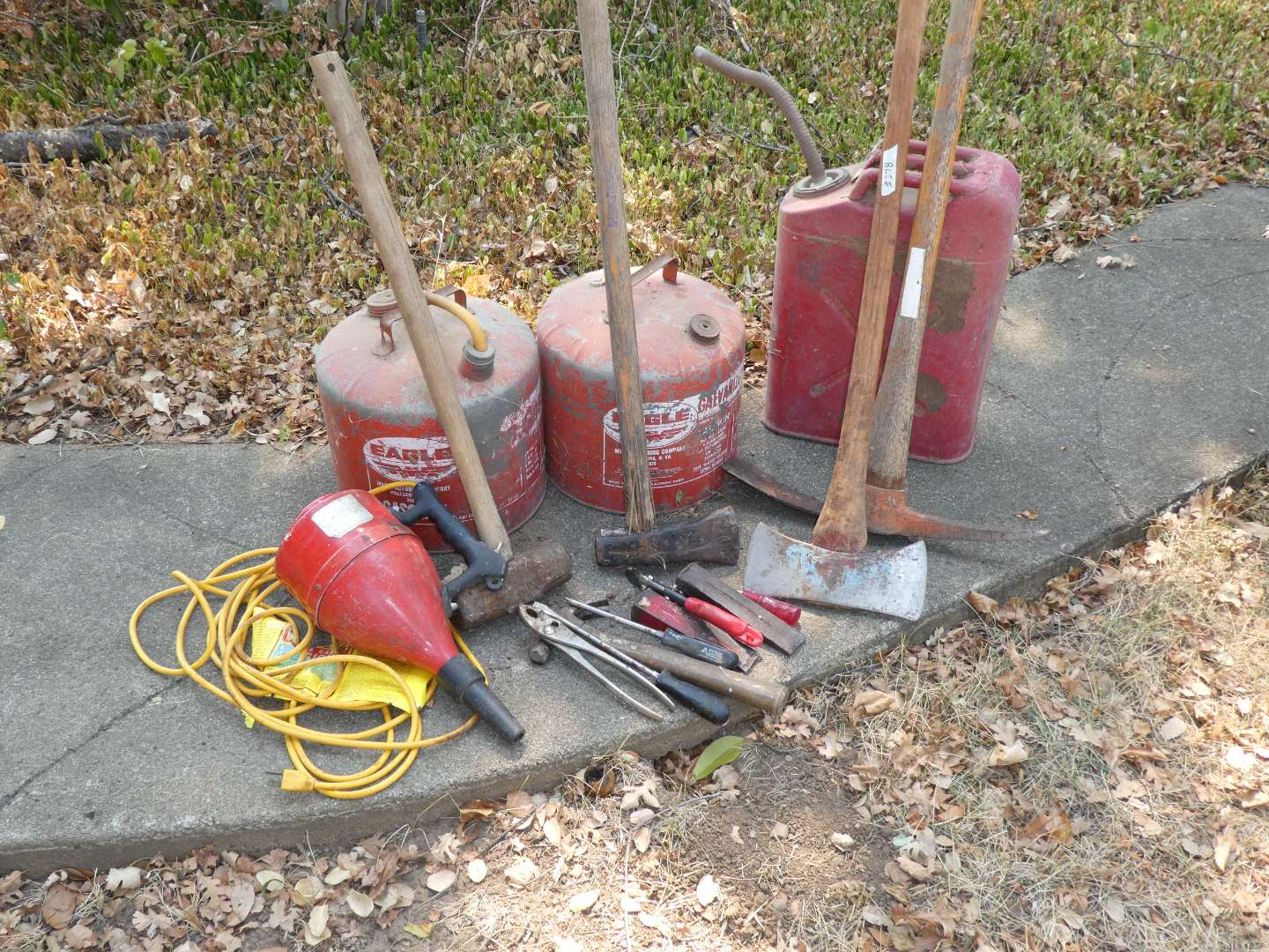 Lot # 278 - Metal Gasoline Cans, Axes & Misc Tools  (main image)