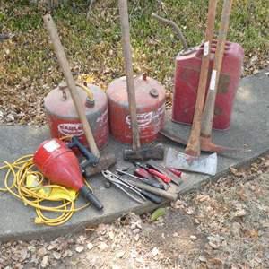Lot # 278 - Metal Gasoline Cans, Axes & Misc Tools