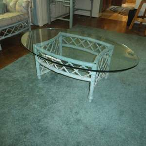Lot # 152 -Vintage Ficks Reed Rattan Coffee Table w/ Oval Glass Top
