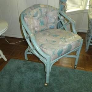 Lot # 153 - Vintage Ficks Reed Rattan Chair on Castors