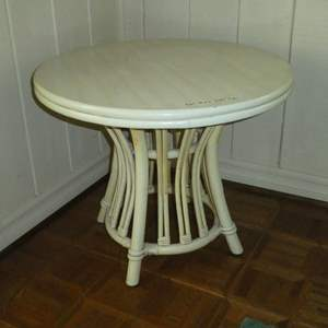Lot # 156 - Adorable Round Vintage White Rattan Side Table