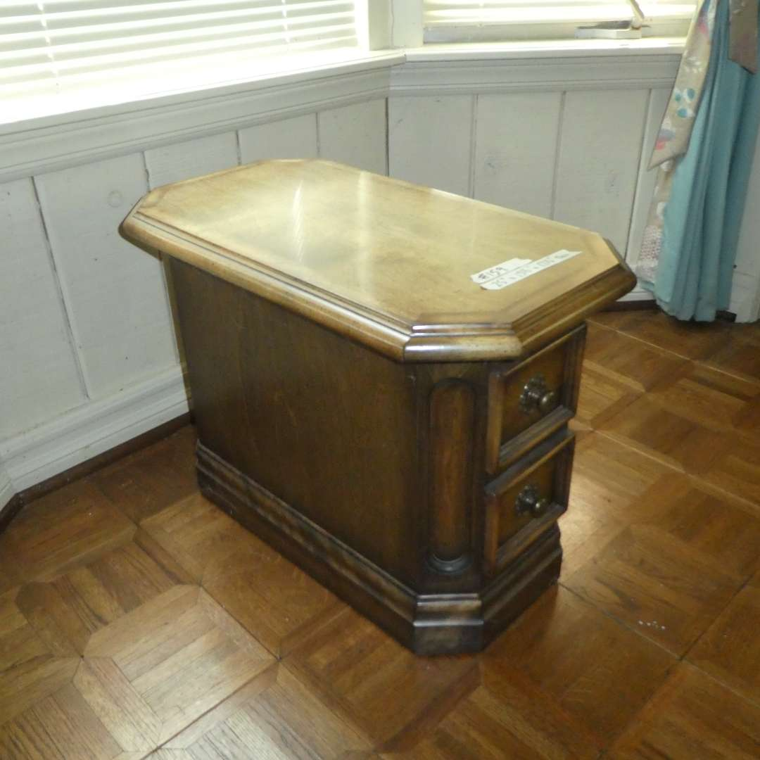 Lot # 159 - Adorable Narrow Solid Wood Side Table w/ Two Small Drawers ( Dovetail Drawers) (main image)