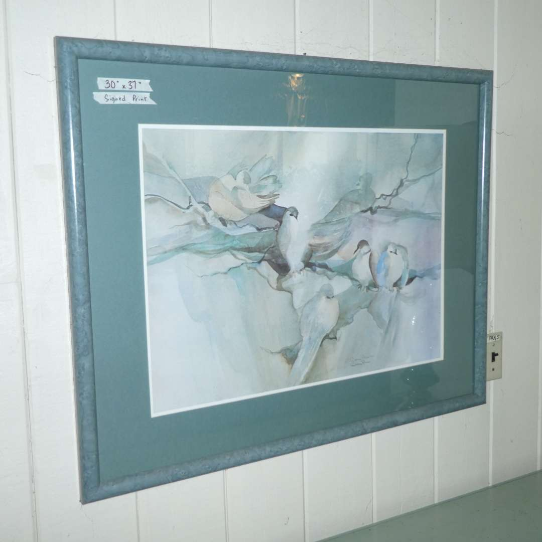 """Lot # 161 - Large Framed Dolores Price """"Dove"""" Print  (main image)"""
