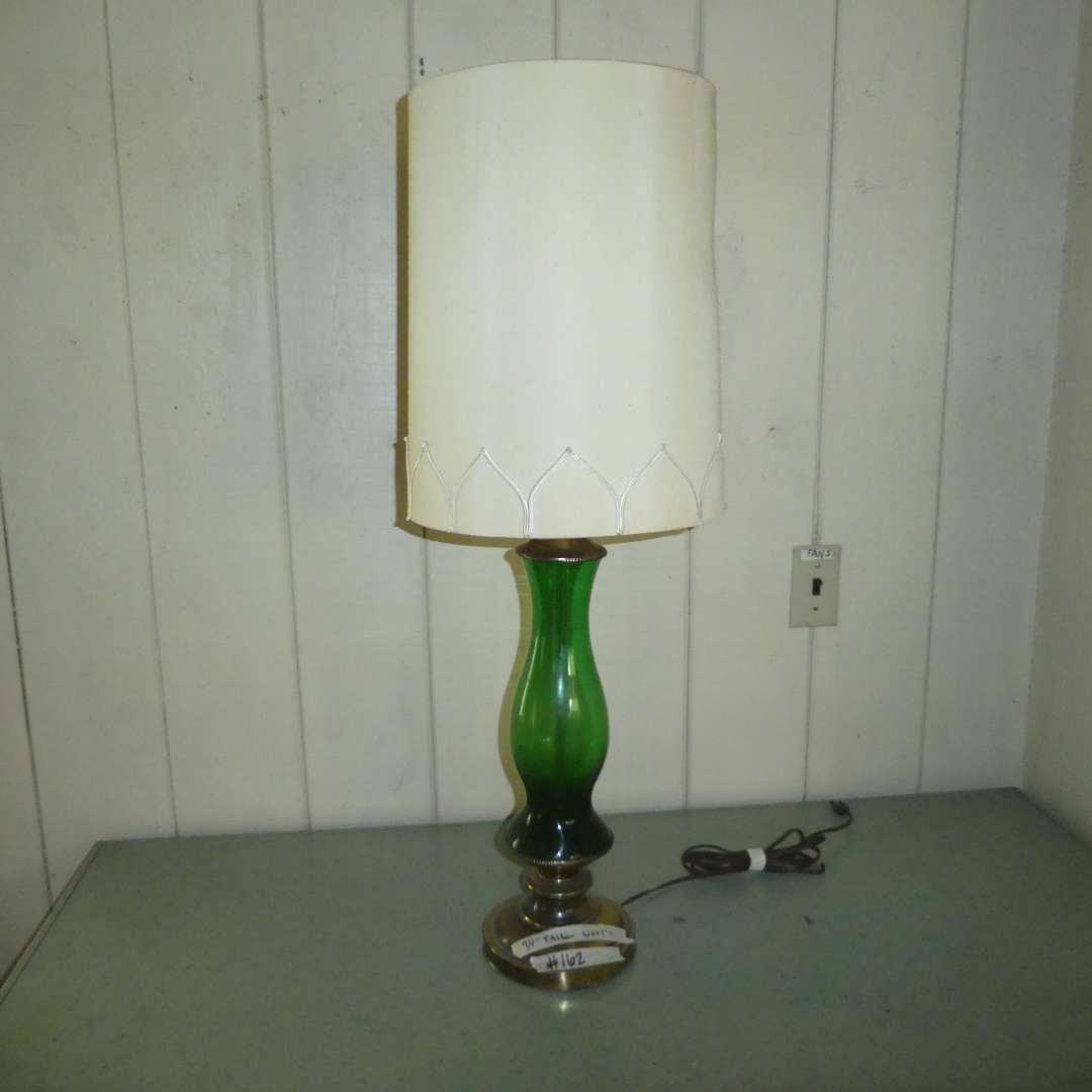 Lot # 162 - Vintage Green Glass & Brass Table Lamp (Shade Has Staining) (main image)