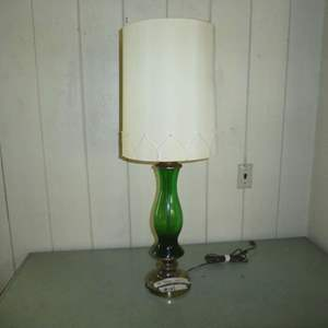 Lot # 162 - Vintage Green Glass & Brass Table Lamp (Shade Has Staining)