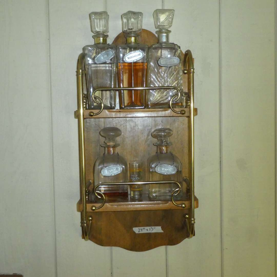 Lot # 165 - Vintage Glass Decanters w/ Metal Hanging Alcohol Signs & Display Shelf (main image)