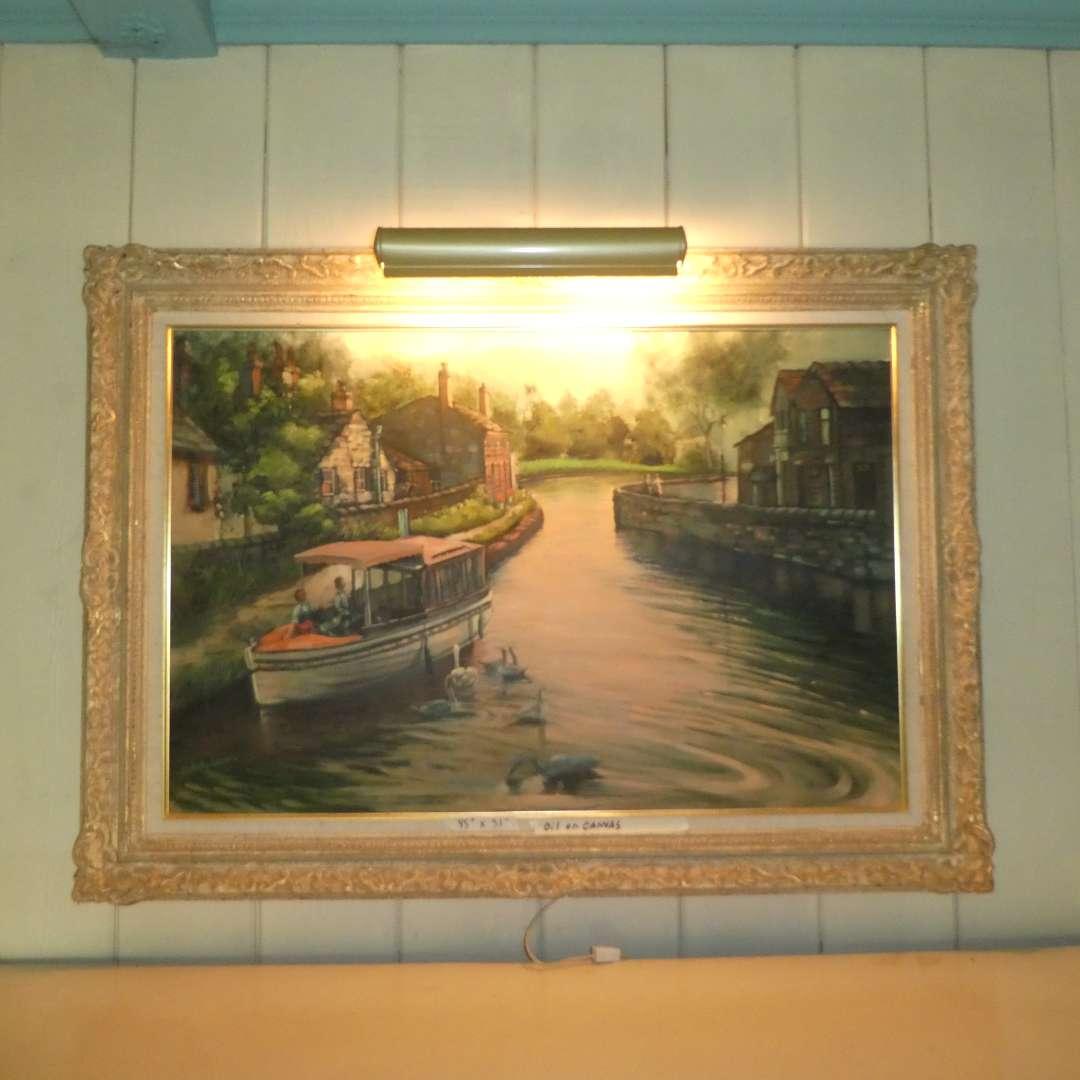 Lot # 167 - Large Framed Signed Original Oil On Canvas w/ Display Lighting  (main image)