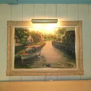 Lot # 167 - Large Framed Signed Original Oil On Canvas w/ Display Lighting