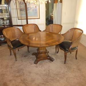 Lot # 168-Karges Furniture French Empire Regency Dining Table Round w/ Beautiful Design & 4 Vintage Regency Style Caned Armchair