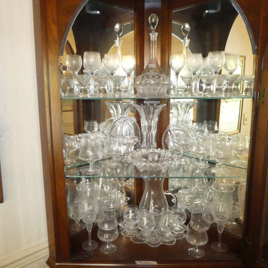 Lot # 170 - Assortment of Vintage Glass Stemware, Plater, Candy Dishes, Decanter & More (main image)