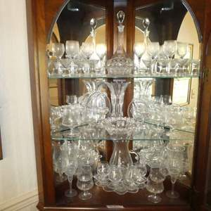 Lot # 170 - Assortment of Vintage Glass Stemware, Plater, Candy Dishes, Decanter & More