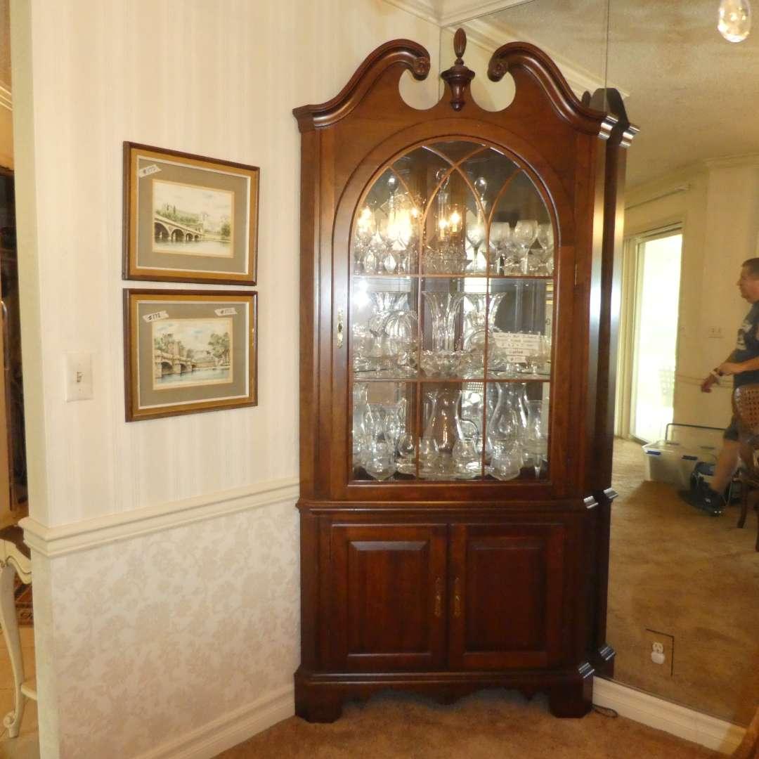 Lot # 173 - Beautiful Lighted Corner Display Cabinet - Jasper Cabinet Company (main image)