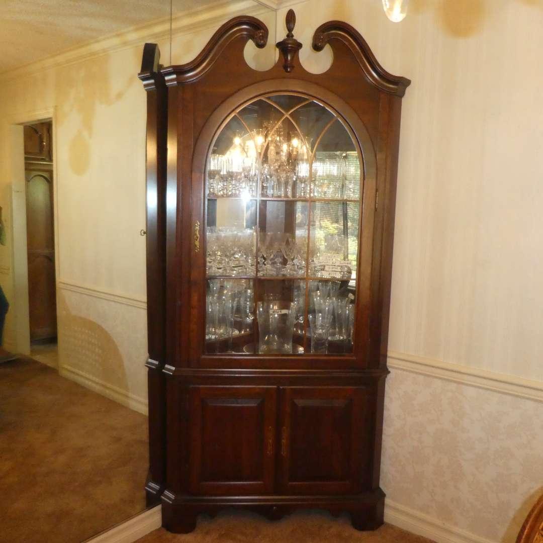 Lot # 174 -  Beautiful Lighted Corner Display Cabinet - Jasper Cabinet Company (main image)