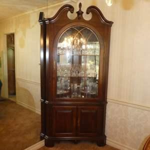 Lot # 174 -  Beautiful Lighted Corner Display Cabinet - Jasper Cabinet Company
