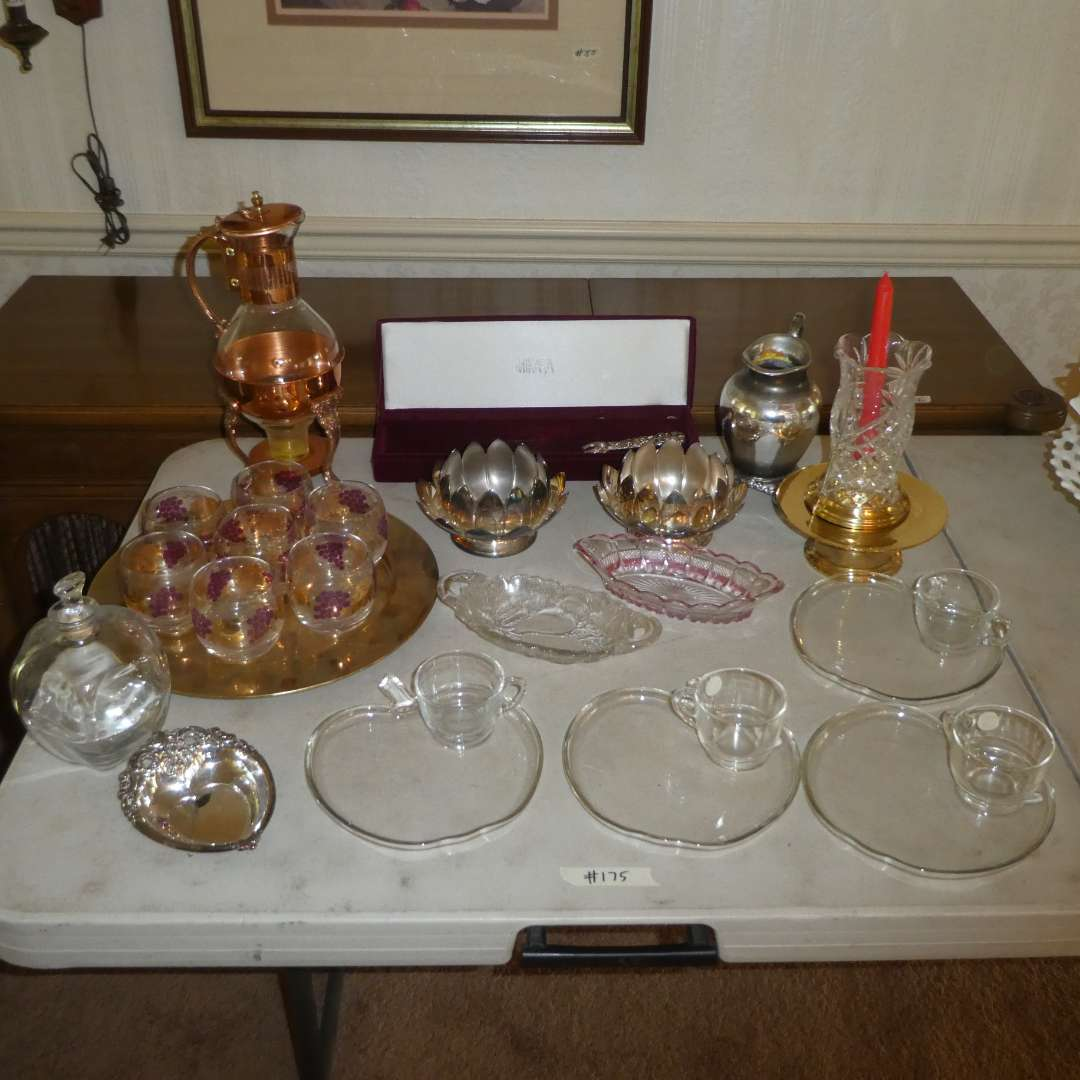 Lot # 175 - Vintage Copper & Glass Coffee Pot, Mikasa Cake Knife & Server,Glass APPLE Snack Plates & Cups, Candy Dishes & MORE (main image)