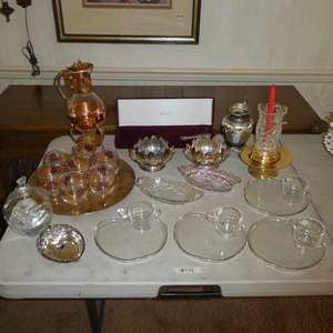 Lot # 175 - Vintage Copper & Glass Coffee Pot, Mikasa Cake Knife & Server,Glass APPLE Snack Plates & Cups, Candy Dishes & MORE