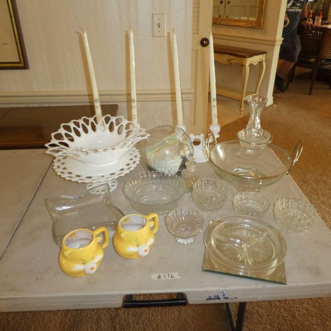 Lot # 176 - Vintage Glass Bowls, Cake Stand, Candle Sticks and Care Bear Mugs (main image)