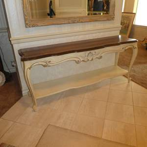 Lot # 177 - Gorgeous French Provincial Style Entry Table/ Buffet  (Beautiful Wood Top)