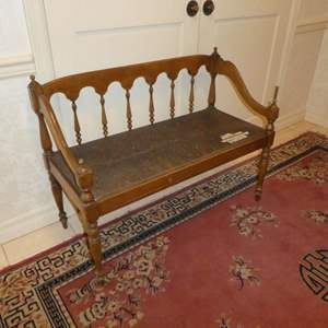 Lot # 179 - Vintage Wooden Bench w/ Rush Seat