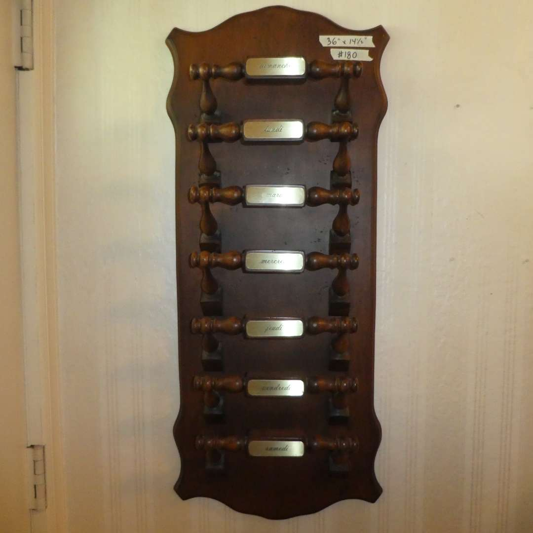 Lot # 180 -Magazine/Newspaper Wall Mounted Rack (Days of The Week in French) (main image)