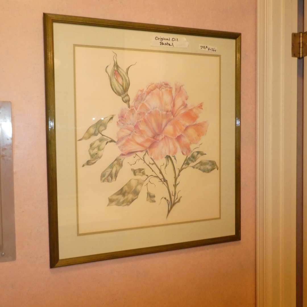 Lot # 184 -Gorgeous Framed Original Oil Pastel Behind Glass   (main image)