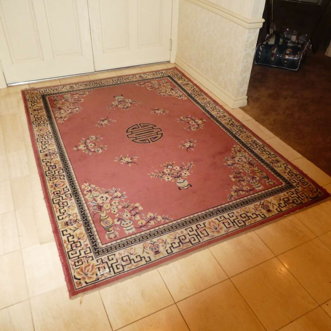 """Lot # 189 - 5'7"""" x 7'11"""" 100% Pure Wool Pine Oriental Rug (Has Some Spots & Edges are a Bit Frayed/Worn) (main image)"""