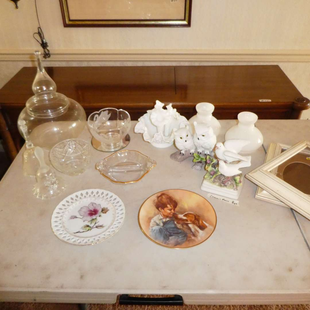 Lot # 192 - Vintage Collectible Plates, Bells, Bowls, Vases and Musical Bird Figurine (main image)