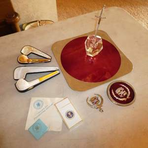 Lot # 188 - Vintage Presidential Aircraft Sealed Cigarettes, Matches & Napkin, Vintage Pipes, France Royal BB Metal Tray & More