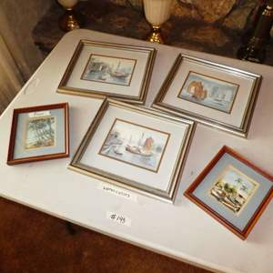 Lot # 193 - Three Original Harbor/ Boat Themed Watercolor Paints & Two Small Prints
