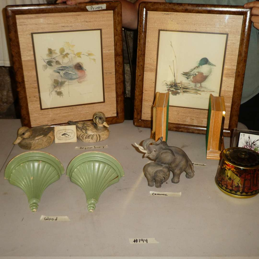 """Lot # 194 -Two Framed Duck Prints, Artek """"Save the Whale"""" Polymer Ivory Ducks, Wooden Sconces, Bookends Made in Italy and More! (main image)"""