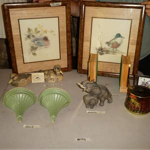 """Lot # 194 -Two Framed Duck Prints, Artek """"Save the Whale"""" Polymer Ivory Ducks, Wooden Sconces, Bookends Made in Italy and More!"""
