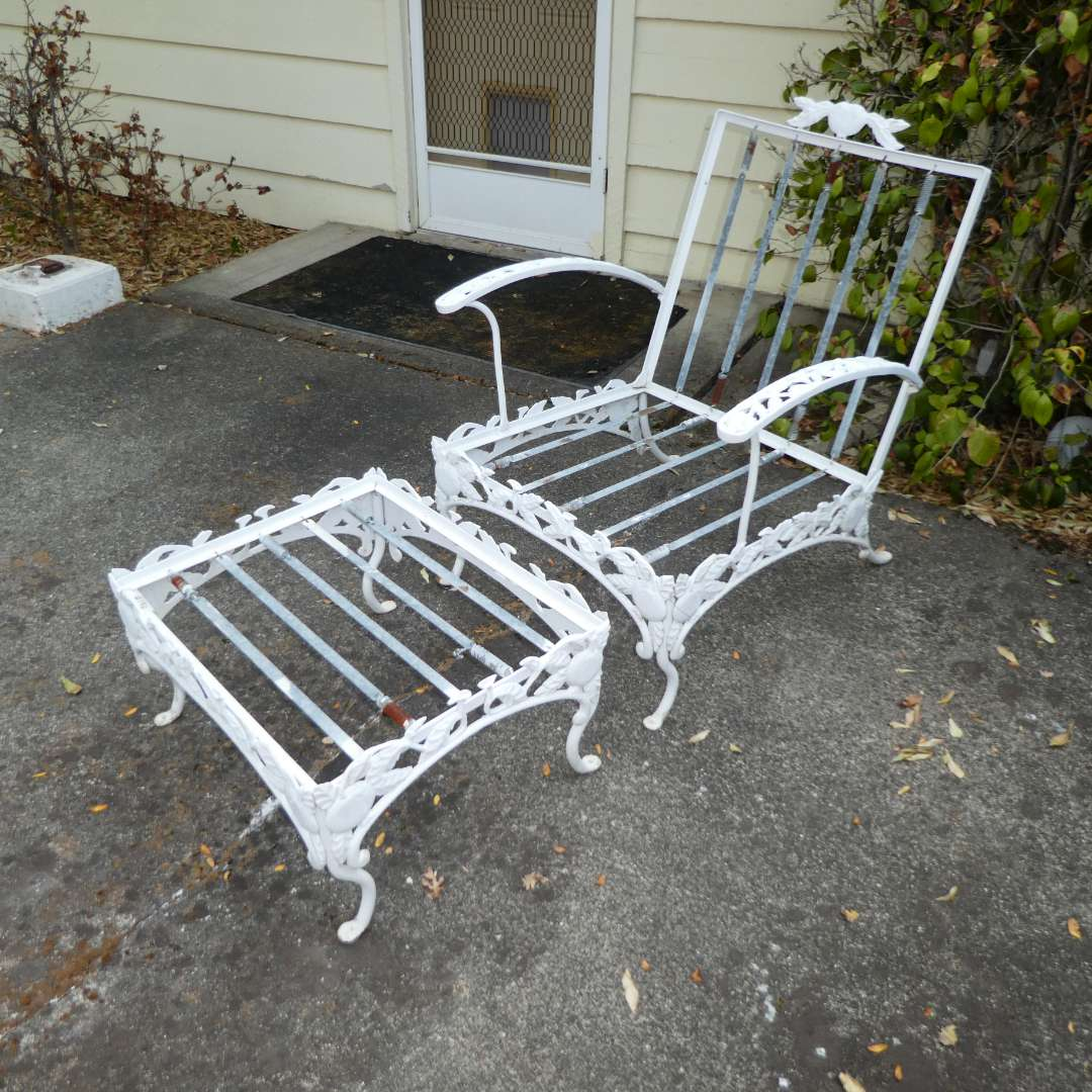 Lot # 196 -Vintage Woodard Pomegranate Pattern Wrought Iron Garden/Patio Chair and Ottoman (Has Cushions) (main image)