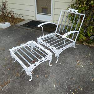 Lot # 196 -Vintage Woodard Pomegranate Pattern Wrought Iron Garden/Patio Chair and Ottoman (Has Cushions)