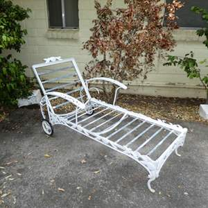 Lot # 197 -Vintage Woodard Pomegranate Pattern Wrought Iron Garden/Patio Lounge Chair (Has Cushions)