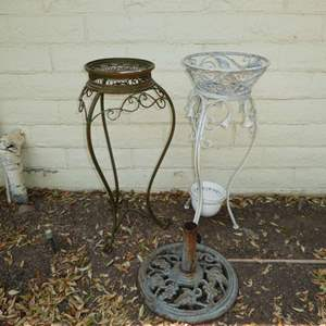 Lot # 200 - Two Metal Plant Stands & Cast Iron Umbrella Stand