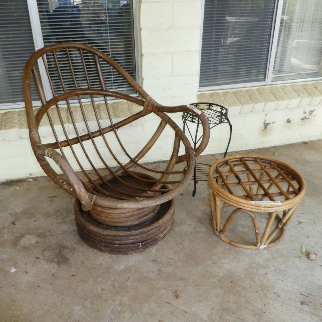 Lot # 201 - Rattan Swivel Rocking Chair, Rattan Foot Stool & Metal Plant Stand (Cushions Need to Be Replaced, Kept for Size) (main image)
