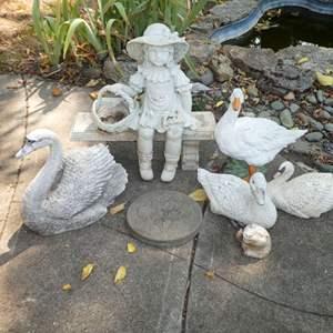 Lot # 204 - Garden Art -Resin Girl Sitting on Bench, Resin/Plastic Swans & Ducks & Cement Stepping Stone