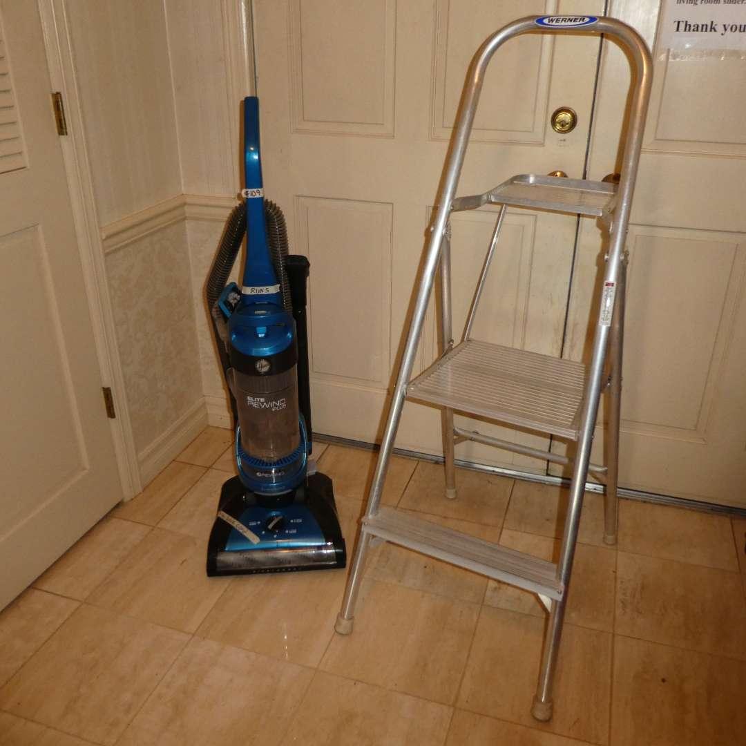 Lot # 109 - Hoover Elite Rewind Plus Vacuum Cleaner (UH71200) & Werner Step Ladder  (main image)