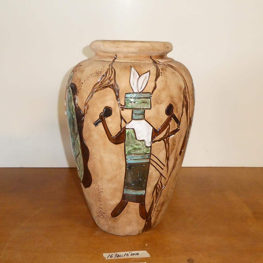 Lot # 100 - Large Southwestern Hand Painted Pottery Vase By Noted Artist Janet Haefner   (main image)